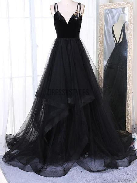 Popular V-Neck Spaghetti Strap Backless Black Tulle Long Evening Prom Dresses,MD325