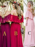 Popular Different Color Strapless Chiffon Bridesmaid Dresses, MD537