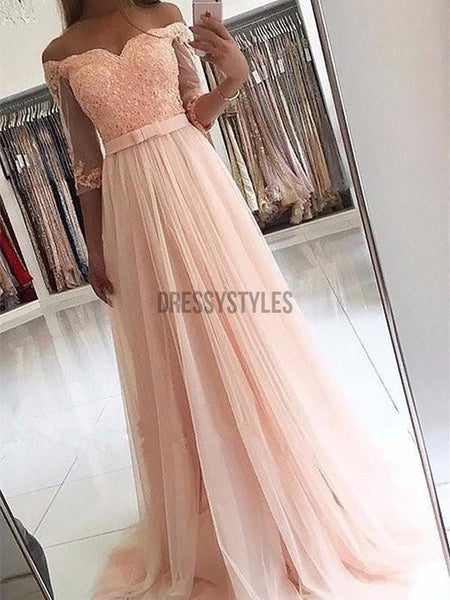 A-Line Off-the-Shoulder Tulle Long Dresses With Sash DPB150