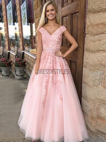 A-Line V-neck Formal Tulle Long Dresses With Applique DPB147
