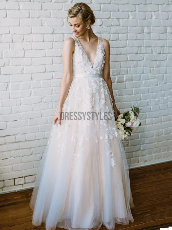 A-line Applique V-neck Long Beach Wedding Dress RPD2103