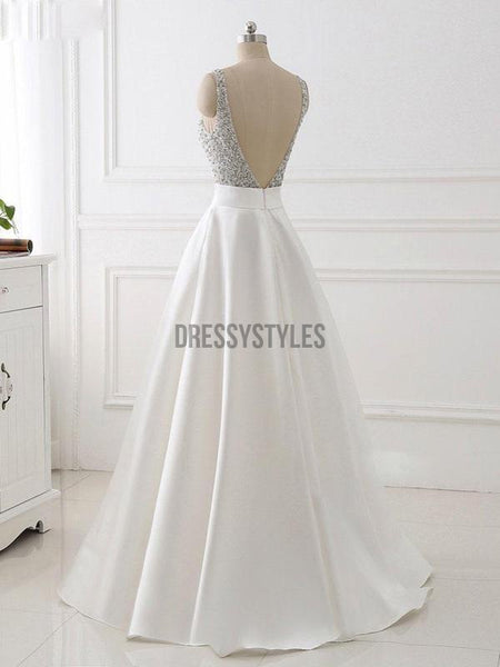 A-line V-neck Beaded Top Ivory Satin Long PromDresses DPB117
