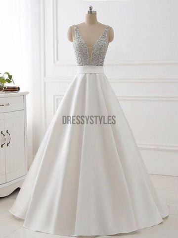 products/A-line_V-neck_Beaded_Top_Ivory_Satin_Long_PromDresses_DPB117.jpg