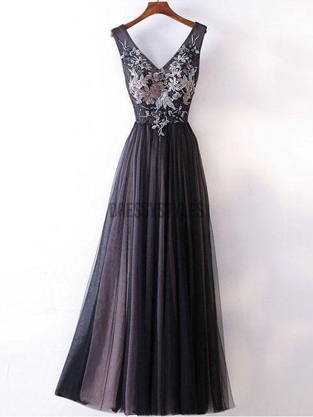 A-line V-neck Lace Appliqued Simple Long Prom Dresses DPB115
