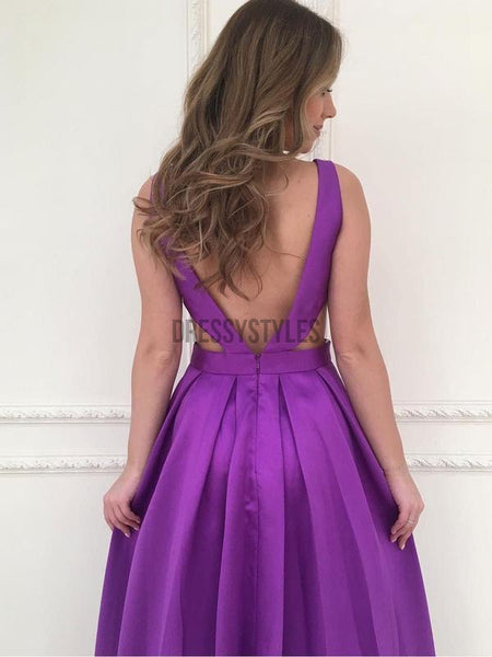 A-line V-neck Satin Long Simple Prom Dresses Purple Long Prom Dresses, DPB119