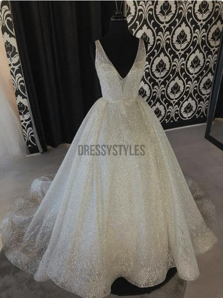 A Line Sparkle Beach V Neck Sequins Ivory Wedding Gowns RPD2106