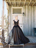 Black Applique Tulle Elegant Cheap Evening Long Prom Dress DPB144