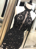 Black Lace Mermaid Halter Open Back Evening Prom Dresses DPB3105