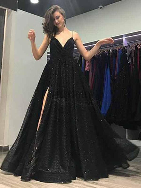 Black Spaghetti Strap Side Slit A-line Long Prom Dress DPB148
