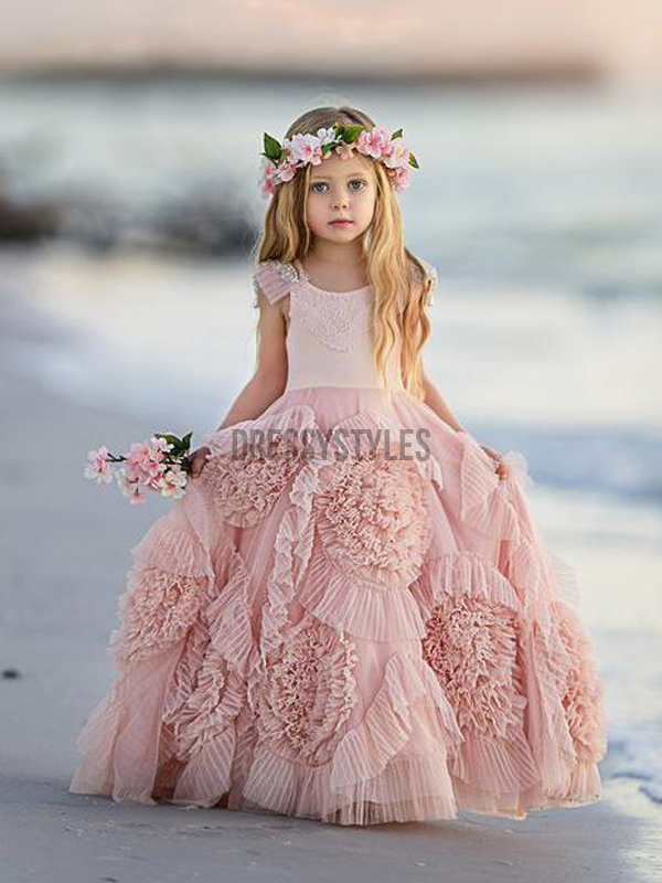 Blush Pink Cute Cheap Vintage Flower Girl Dresses, GTE2121