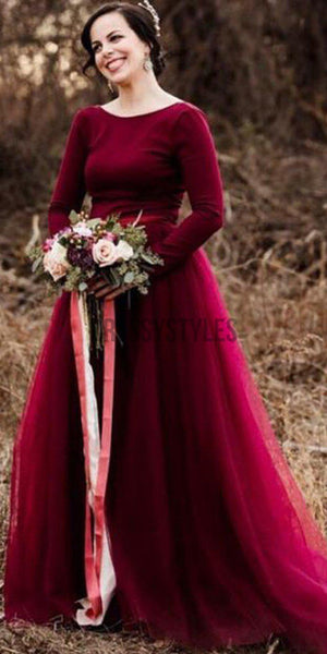 Burgundy Long Sleeves Tulle Simple A-line Bride Wedding Dresses RPD2110