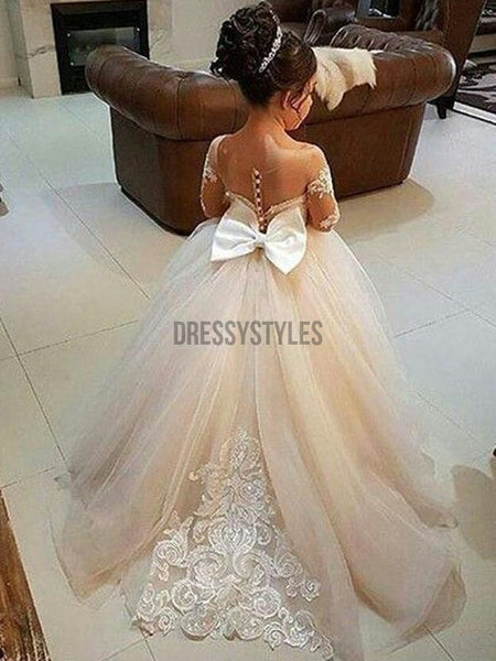 Cute Long Sleeves Tulle Cheap Flower Girl Dresses GTE2115