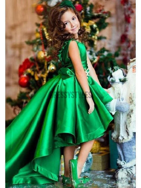 Green Party Dresses For Kids High Low Cheap Flower Girl Dress GTE2120