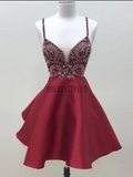 Elegant Spaghetti Strap V Neck A Line With Rhinestone Short Homecoming Dress, BTW187
