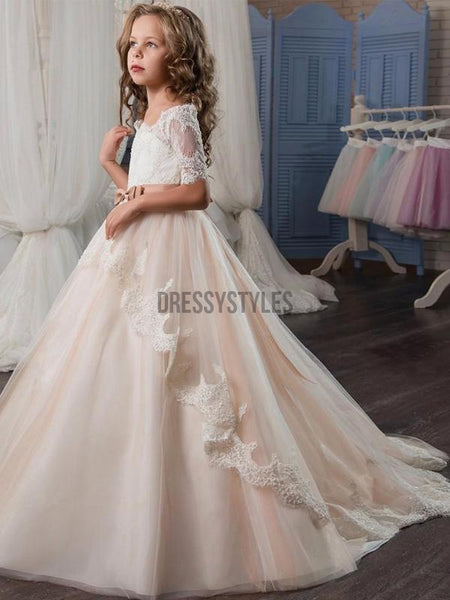 Half sleeves Lace Tulle Long Flower Girl Dresses GTE2117