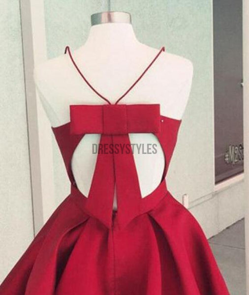 Simple Burgundy Cheap Satin Spaghetti Strap Homecoming Dress BTW124
