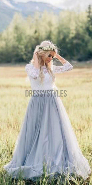 Lace Tulle 3/4 Sleeves A Line Formal Long Bridesmaid Dresses for Weddings MD305