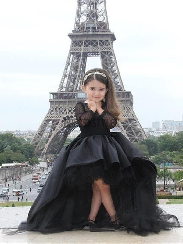 16a2d48d6ab2 Long Sleeves Black High Low Flower Girl Dresses GTE2114 | dressystyles