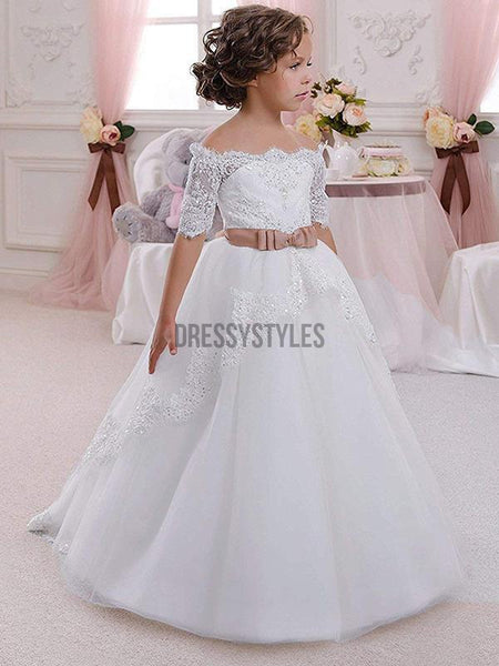 Off the Shoulder Short Sleeves Cheap Flower Girl Dress, GTE2118