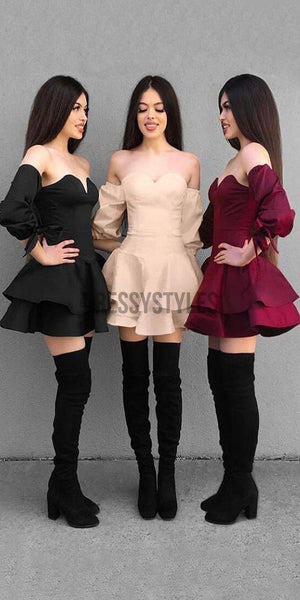 Off the Shoulder Sweetheart Long Sleeves Short Homecoming Dresses BTW127