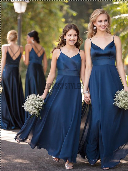 Elegant Spaghetti Strap Satin A-line Long Bridesmaid Dresses, BW0616