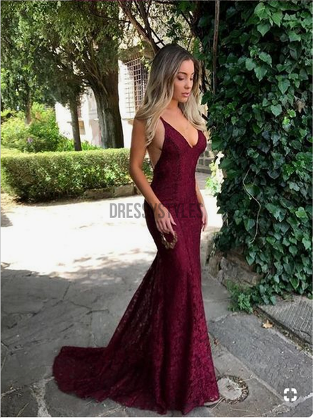Charming Red Spaghetti Strap Sexy Backless Lace Mermaid Long Prom Dresses , DPB156