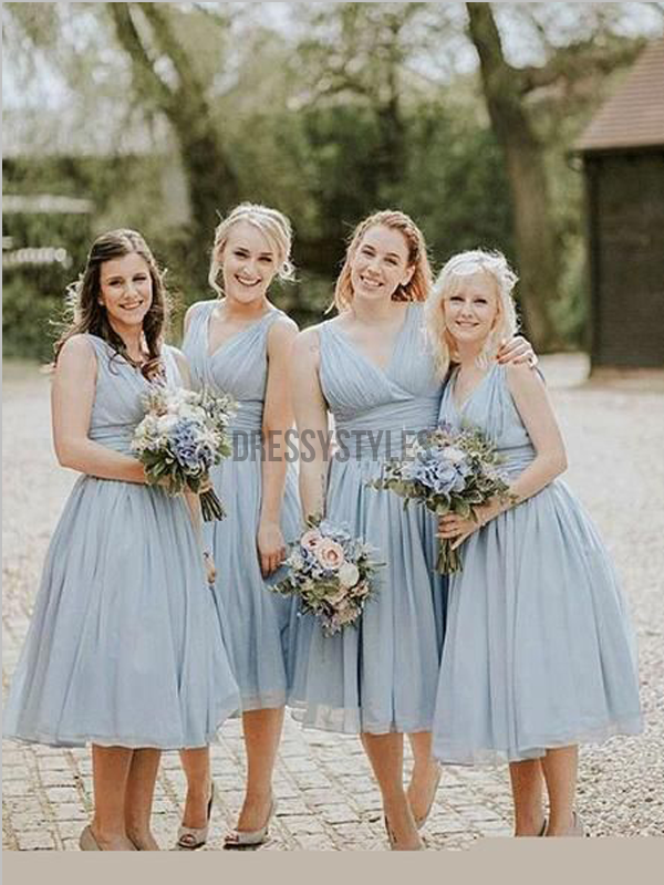 Cheap Dusty Blue Chiffon V Neck A Line Short Bridesmaid Dresses, MD515