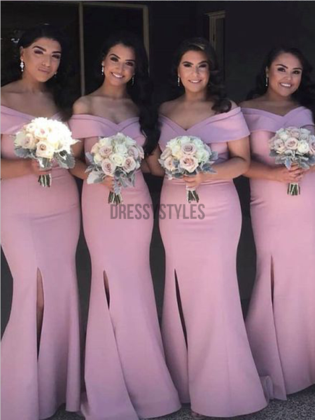 Pretty Off The Shoulder Side Slit Mermaid Long Bridesmaid Dresses, MD523
