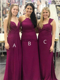 Simple Mismatched Sleeveless Chiffon Floor Length Long Bridesmaid Dresses, MD408