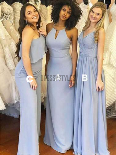 Affordable Mismatched A Line Chiffon Floor Length Long Bridesmaid Dresses, MD520
