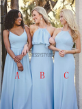 Simple Sleeveless Different Styles Chiffon Long Bridesmaid Dresses ,MD366