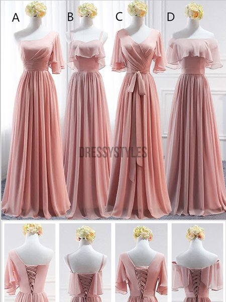 Simple Mismatched A Line Chiffon Floor Length Long Bridesmaid Dresses ,MD367