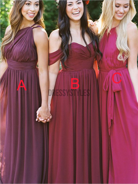 Pretty Mismatched Chiffon A Line Floor Length Long Bridesmaid Dresses, MD505