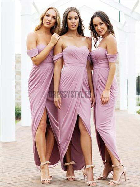 Simple Off The Shoulder High Low Ankle Length Jersey Long Bridesmaid Dresses, MD501