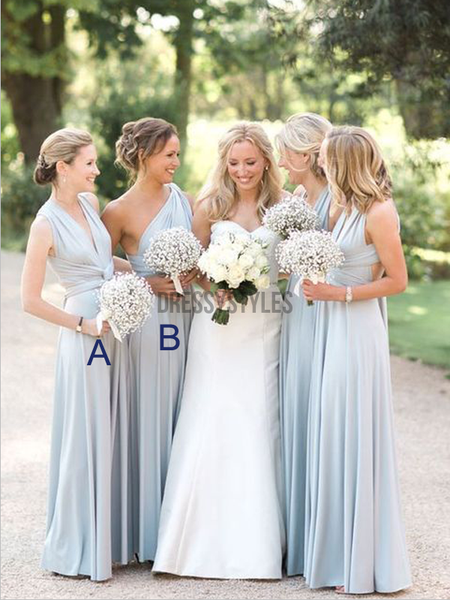 Mismatched A Line Cheap Chiffon Floor Length Long Bridesmaid Dresses, MD481