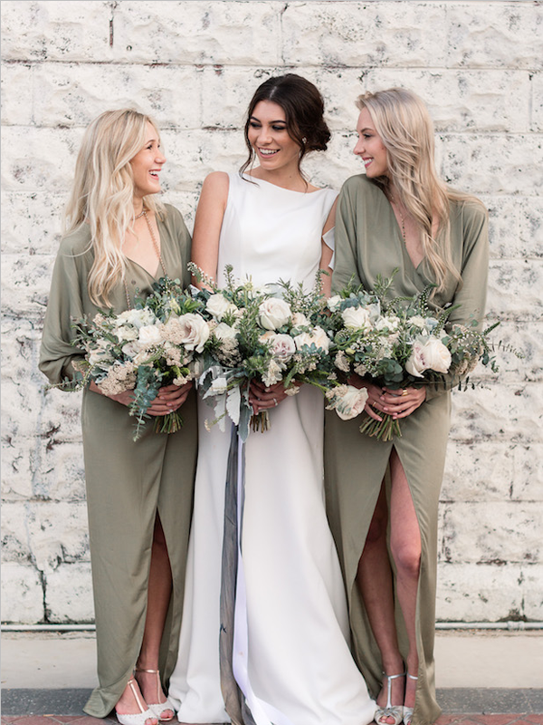 Pretty Olive Green V Neck Chiffon Floor Length Long Bridesmaid Dresses, MD499