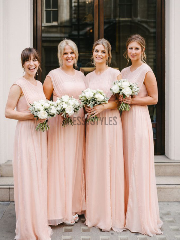 Affordable Round Neck Sleeveless A Line Floor Length Long Bridesmaid Dresses, MD525