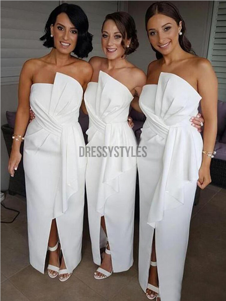 Unique Strapless Ankle Length Split White With Ruffles Bridesmaid Dresses, MD518