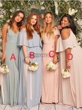 Cheap Mismatched Chiffon A Line Floor Length Long Bridesmaid Dresses, MD493