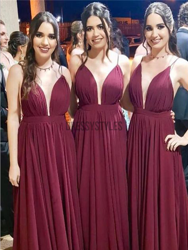 Elegant Spaghetti Strap Burgundy Chiffon A Line Long Bridesmaid Dresses, MD531