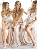 Pretty Lace Applique V Neck A Line Side Slit Chiffon Long Bridesmaid Dresses, MD445