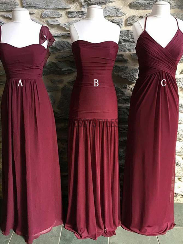 Mismatched Burgundy A Line Chiffon Floor Length Long Bridesmaid Dresses, MD504