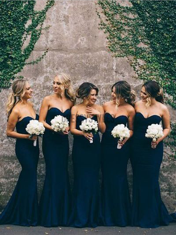 Cheap Sweetheart Elegant Navy Blue Mermaid Long Bridesmaid Dresses, MD496