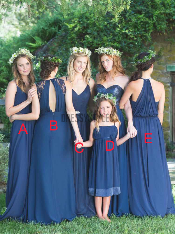 Mismatched Chiffon Sequin Royal Blue Floor Length Long Bridesmaid Dresses, MD492