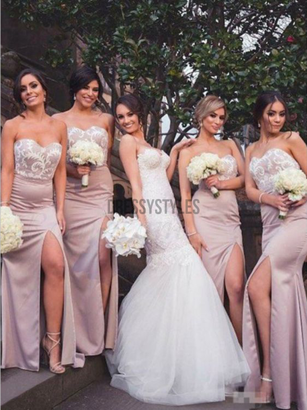 Elegant Sweetheart Lace Top Side Slit Mermaid Long Bridesmaid Dresses, MD503