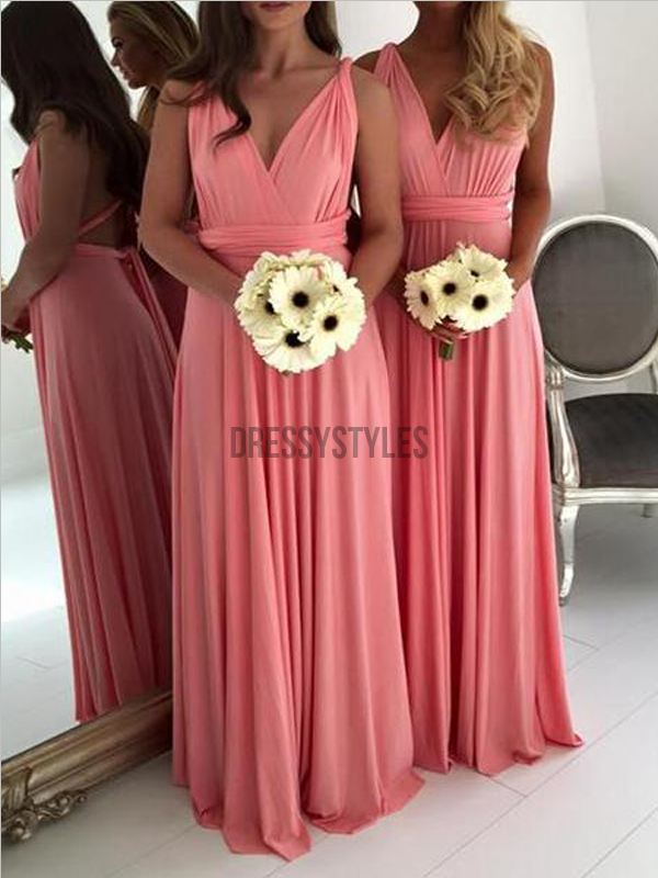 Cheap V Neck Sleeveless A Line Chiffon Floor Length Long Bridesmaid Dresses, MD512
