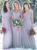 Cheap Different Styles Chiffon Long Simple Bridesmaid Dresses ,MD354