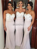Modest Spaghetti Strap Sweetheart Neckline Lace Top Mermaid Long Bridesmaid Dresses, MD411