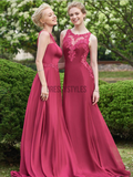 Mismatched Lace Applique A Line Sleeveless Long Bridesmaid Dresses ,MD375