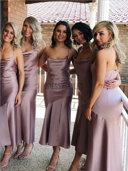 Simple Spaghetti Strap Side Slit Mermaid Long Bridesmaid Dresses, MD522